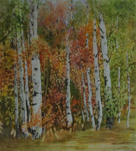 "E.M. Roberts ""Deep Woods Birches"" Paint Ontario 2015 Tom Crossman Award"